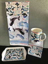 Brand New Gift Boxed Ashdene Deep Blue Whale Bone China Mug Tray & Tea Towel Set