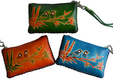 Leather Change Purse,Wristlet Wallet,Rectangle, Love Birds on Bamboo,More Color