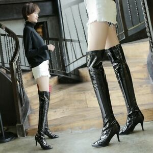 Sexy Womens Patent Leather Over The Knee Thigh Boots Pointed Toe Shoes Plus Size