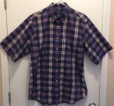 Cambridge Classic Mens Easy Care Short Sleeve Shirt Navy Blue & Red Plaid Medium