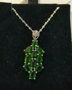 Sterling silver necklace with chrome diopside pendant & silver magnetic clasp