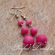 Glass Pearls Long Dangle Earrings 925 Sterling Silver Hook Pink Czech