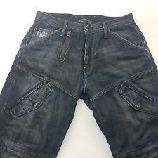 G-Star Raw ELWOOD Mens Jeans W32 L34 Dark Blue Regular Fit Straight Mid Rise