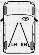 BKB3291 BORG & BECK BRAKE CABLE LH & RH fits Renault Grand Scenic 03-