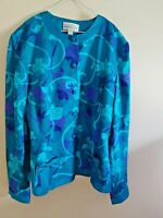 VTG Adrianna Papell 100% Silk 2-Piece Dress Suit Size 6 Teal Purple Floral Skirt