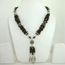 NATURAL SMOKY QUARTZ GEMSTONE CHIPS NECKLACE 72 GRAMS