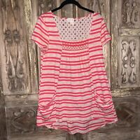 Meadow Rue Anthropologie Women's Size Medium Top Square Neck Striped Tunic