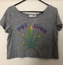 NEW DAYDREAMER LA POT LUCK CROPPED TEE SHIRT GRAY SHORT SLEEVES SIZE S