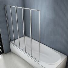 1200x1400mm New 5 Fold Folding Shower Bath Screen Glass Door Panel&Seal