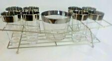 Vintage Silver Dorothy Thorpe Era 10 Pc Tall Tumbler Bar Drink Glass Set w/Rack