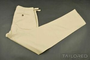 NEW $650 FOX BROTHERS Beige Cotton FLAT FRONT Side Tab Khaki Pants Trousers - 34
