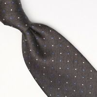 Gladson Mens Silk Necktie Gray Blue White Polka Dot Weave Woven Tie Italy