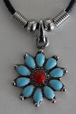 """Turquoise Flower Choker Necklace Pendant Silver Biker Jewlery 16"""" Lead Free"""
