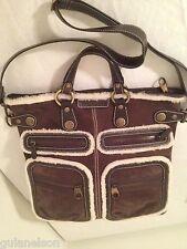 """Hogan (Tod's)Bandoliera"""" brown suede large tote bag shoulder purse $1500 Italy"""