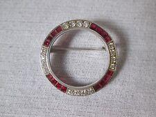 3ct Ruby & 1ct Diamond Platinum Brooch.