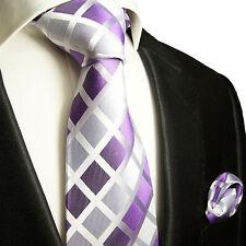 XL Krawatten Set 2tlg lila violett extra lange 165cm Seidenkrawatte + Tuch 466
