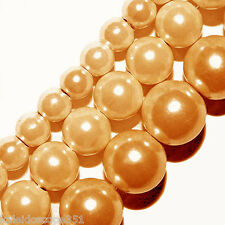 GLASS PEARLS BEADS LIGHT PEACH COLOR 6MM BEAD STRANDS