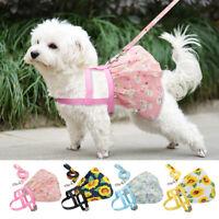 Floral Dog Dress Harness and Leash Set Summer Costume Pet Cat Skirt Flower Vest