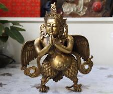 Tibetan Buddhism Copper Brass Temple Winged Garuda Bird God Buddha Statue