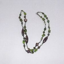 Vintage Green Glass Necklace - Golds & Greens - AA6E