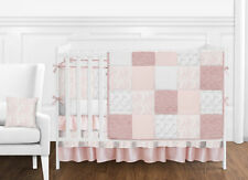 Shabby Chic Mauve Blush Pink and White Vintage Lace Baby Girl Bedding Crib Set
