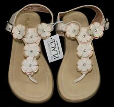 Childrens Place Girls Metallic Gold Copper Flower Sandals Flats ~ Size 3 NWOB dh