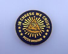IRON PATCH LOGO embroidered sew CHEESE WE CRUST PIZZA BRIGADE music rock punk