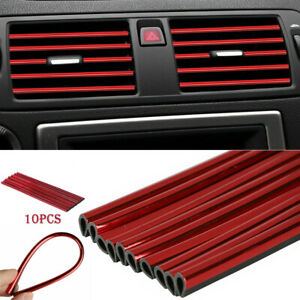 10× Car Interior Air Conditioner Air Outlet Decoration Stripes Cover Accessories