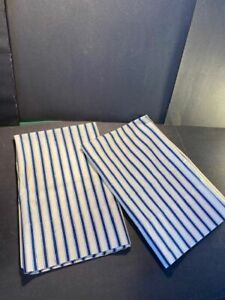 "Pair of Ralph Lauren Standard Little Bay Ticking Pillowcases 19x30"" Blue & White"