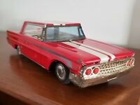 Vtg RARE ☆TAIYO☆ Japan Tin Friction Toy Ford Galaxie RED Sports Car tin toy o2