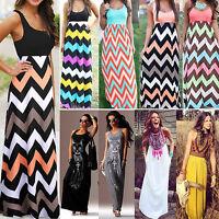 Womens Summer Maxi Dress Sleeveless Casual Beach Holiday Striped Party Sundress