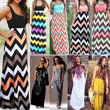 Wave pattern Women Summer Long Maxi Dress sleeveless Round collar repair