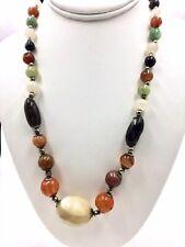 "Vintage Multi  Gemstone Amber, Jasper, Quartz Trade Bead Necklace 22"""