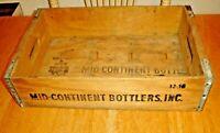 Vintage Mid-Continent Bottlers 7 UP Distributor Wood Soda Pop Bottle Crate / Box