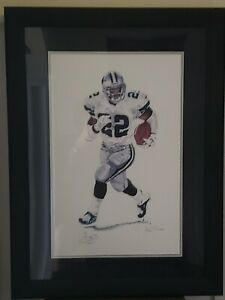 Emmitt Smith Autographed Framed Lithograph Dallas Cowboys 16,727 Yds