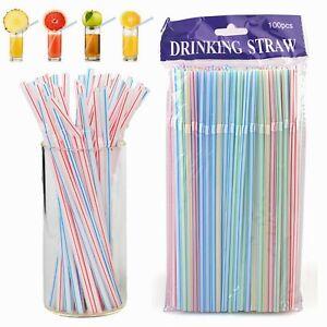 100 x Straws Plastic Bendy Colourful Straws Birthday Wedding Summer Party Drink