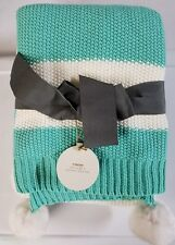 Target Teal & White Colorblock Striped Knit Throw Blanket w/ Pompoms 50X60