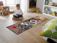wash+dry Teppich waschbar  Fußmatte Läufer 60 x 180 cm Loops and Flowers Taupe