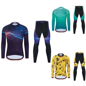 Miloto Men's Road Cycling Wear Set Long Sleeve Jersey Padded Tights Pants Kit