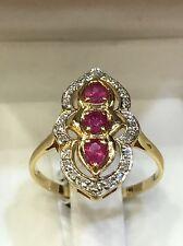 Bague or jaune 18 carats diamants et rubis