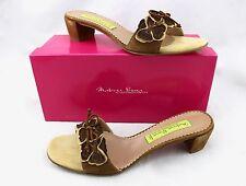 $239 MATERIA PRIMA GOFFREDO FANTINI Brown Leather Floral Bow Slides Sandals 11