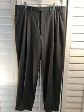 CANALI CHARCOAL GREY WOOL PLEATED FRONT DRESS PANTS SIZE: 36 X 32