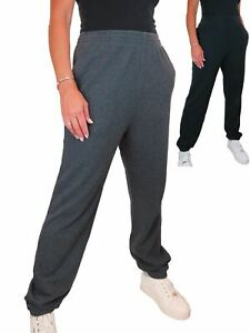 Ladies Casual Soft High Rise Elastic Cuff Cotton Tracksuit Jogging Bottoms 16-22