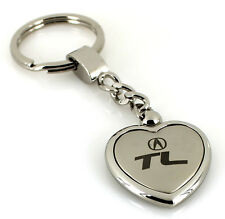 Acura TL Satin/Chrome Two Tone Heart Shape On Chain Keychain