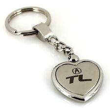 Acura TL Satin/Chrome Two Tone Heart Shape On Chain Keychain