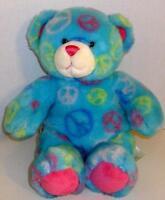 "BUILD A BEAR BLUE PEACE SIGN FRIENDSHIP TEDDY 14"" PLUSH STUFFED ANIMAL DOLL TOY"
