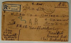 Straits Settlements Registered 1923 with ' AR ', King GV 6c block of 4 used on c