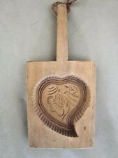Vintage Wood Carved Cookie or Butter Mold Folk Art Wooden
