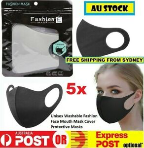 5x Reusable Washable Lightweight Fashion Face Mask (Black & Cream 5 Pack)
