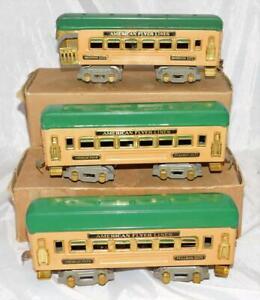 BOXED 1930s Prewar American Flyer Passenger Cars 3171 3171 3172 Tan/Green O gaug